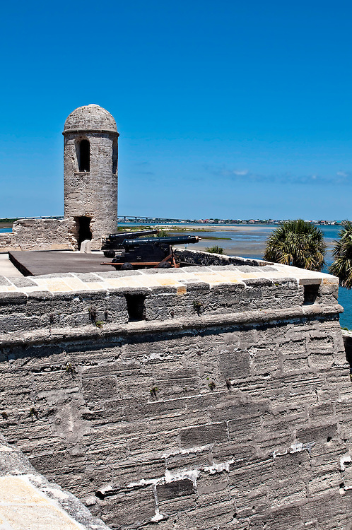 View of the old San Marcos Castle in St. Augustine Florida, a National Momunent.