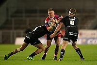 Rugby League - 2020/2021 Coral Challenge Cup - Quarter-final - Catalan Dragons vs Salford Red Devils<br /> <br /> Salford Red Devils's Luke Yates is tackled, at the TW Stadium.<br /> <br /> COLORSPORT/TERRY DONNELLY