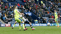 Preston North End's Sean Maguire goes down in the penalty area under the challenge from Derby County's Alex Pearce <br /> <br /> Photographer Rich Linley/CameraSport<br /> <br /> The EFL Sky Bet Championship - Preston North End v Derby County - Monday 2nd April 2018 - Deepdale Stadium - Preston<br /> <br /> World Copyright © 2018 CameraSport. All rights reserved. 43 Linden Ave. Countesthorpe. Leicester. England. LE8 5PG - Tel: +44 (0) 116 277 4147 - admin@camerasport.com - www.camerasport.com