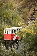 Cable car or funicular in mountains between trees, Valparasio, Chile