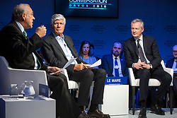 """HANDOUT - Angel Gurría, Secretary-General, Organisation for Economic Co-operation and Development (OECD), Paris; Member of the Board of Trustees, World Economic Forum, Maurice Lévy, Chairman of the Supervisory Board, Publicis Groupe, France, Bruno Le Maire, Minister of Economy and Finance of France speaking during the Session """"Europe between Vision and Dilemma"""" at the Annual Meeting 2018 of the World Economic Forum in Davos, January 25, 2018. Photo by Christian Clavadetscher/World Economic Forum via ABACAPRESS.COM"""