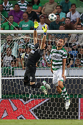 August 15, 2017 - Lisbon, Portugal - Steaua's goalkeeper Florin Nita (R ) vies with Sporting's forward Bas Dost from Holland during the UEFA Champions League play-offs first leg football match between Sporting CP and FC Steaua Bucuresti at the Alvalade stadium in Lisbon, Portugal on August 15, 2017. (Credit Image: © Pedro Fiuza/NurPhoto via ZUMA Press)