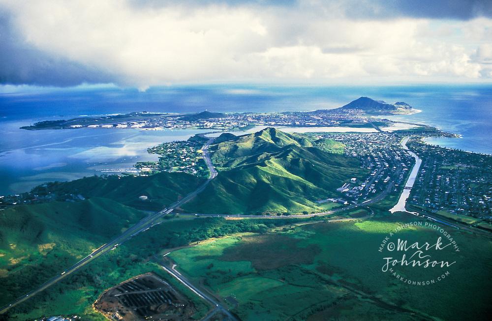 Aerial of H-3 Freeway leading to Kaneohe Marine Base Hawaii, Oahu, Hawaii