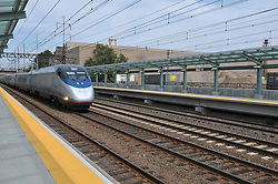 Amtrak Acela Westbound Movement through the Railroad Station at Fairfield Metro Center. Owner: Connecticut Department of Transportation. Staton serving Metro-North Commuter Railroad