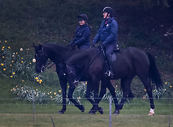 © Licensed to London News Pictures. 28/04/2021. Windsor, UK. Prince Andrew rides his horse in the grounds of Windsor Castle. It is being reported that the Duke of York started a business with a former Coutts banker who had to resign over allegations of sexual harassment. Photo credit: Peter Macdiarmid/LNP