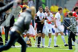 16-05-2010 VOETBAL: FC UTRECHT - RODA JC: UTRECHT<br /> FC Utrecht verslaat Roda in de finale van de Play-offs met 4-1 en gaat Europa in / Vreugde bij Utrecht met oa Tim Cornelisse, Ricky van Wolfswinkel, Michael Silberbauer en Michel Vorm<br /> ©2010-WWW.FOTOHOOGENDOORN.NL