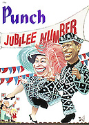 Punch cover, 6 April 1977. Jubilee Number (Queen Elizabeth II and Prince Phillip dressed as a pearly queen and king for the Silver Jubilee celebrations)