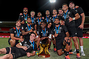 The New Zealand team poses with the Cup after winning the HSBC World Rugby Sevens, Mens Cup Final match between New Zealand and USA, 2019, Spotless Stadium, Saturday 3rd February 2019. Copyright Photo: David Neilson / www.photosport.nz