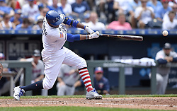 July 2, 2017 - Kansas City, MO, USA - Kansas City Royals' Alcides Escobar connects on an RBI single to score Jorge Soler in the fifth inning against the Minnesota Twins on Sunday, July 2, 2017 at Kauffman Stadium in Kansas City, Mo. (Credit Image: © John Sleezer/TNS via ZUMA Wire)