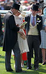 The Duke and Duchess of Cambridge and James Meades in the Parade Ring before the start of the Kings Stand Stakes during day one of Royal Ascot at Ascot Racecourse.
