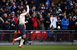 Tottenham Hotspur's Son Heung-min celebrates scoring his side's first goal of the game during the Premier League match at Wembley Stadium, London.