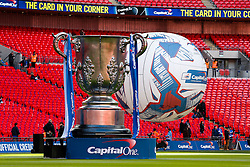 General View of a Giant League Cup and Inflateable football on the pitch inside Wembley Stadium before the match - Photo mandatory by-line: Rogan Thomson/JMP - 07966 386802 - 01/03/2015 - SPORT - FOOTBALL - London, England - Wembley Stadium - Chelsea v Tottenham Hotspur - Capital One Cup Final.