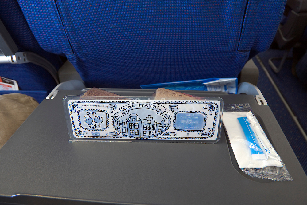 lunch bread snack during a KLM flight