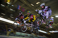 riders in the first heats at the UCI BMX Supercross World Cup in Manchester, UK