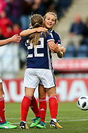 Erin Cuthbert (#22) of Scotland celebrates scoring Scotland's second goal (2-1) with Fiona Brown (#20) of Scotland during the FIFA Women's World Cup UEFA Qualifier match between Scotland Women and Belarus Women at Falkirk Stadium, Falkirk, Scotland on 7 June 2018. Picture by Craig Doyle.