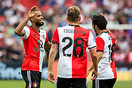 Feyenoord player Jeremiah St. Juste celebrates his goal with Feyenoord player Jens Toornstra (m) and Feyenoord player Yassin Ayoub (r) during the Dutch football Eredivisie match between Feyenoord and Excelsior at De Kuip Stadium in Rotterdam, on August 19th, 2018 - Photo Dennis Wielders / Pro Shots / ProSportsImages / DPPI