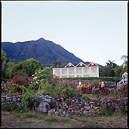 """The """"Manor House Villa"""" at The Hermitage Plantation Inn, Nevis.  Mt. Nevis is in the background"""
