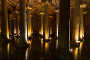 Water reflecting columns at Basilica Cistern (Sunken Palace) subterranean water system underground, Istanbul, Republic of Turkey