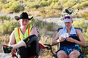 Iris Slappendel (rechts) na afloop van een goede run. Het Human Power Team Delft en Amsterdam, dat bestaat uit studenten van de TU Delft en de VU Amsterdam, is in Amerika om tijdens de World Human Powered Speed Challenge in Nevada een poging te doen het wereldrecord snelfietsen voor vrouwen te verbreken met de VeloX 7, een gestroomlijnde ligfiets. Het record is met 121,44 km/h sinds 2009 in handen van de Francaise Barbara Buatois. De Canadees Todd Reichert is de snelste man met 144,17 km/h sinds 2016.<br /> <br /> With the VeloX 7, a special recumbent bike, the Human Power Team Delft and Amsterdam, consisting of students of the TU Delft and the VU Amsterdam, wants to set a new woman's world record cycling in September at the World Human Powered Speed Challenge in Nevada. The current speed record is 121,44 km/h, set in 2009 by Barbara Buatois. The fastest man is Todd Reichert with 144,17 km/h.