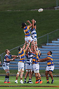 Bay of Plenty players get up for the ball against Auckland during the Mitre 10 Cup match played at Rotorua International Stadium in Rotorua on Friday 2nd October 2020.<br /> Copyright photo: Alan Gibson / www.photosport.nz