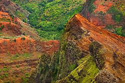 "Waimea River and Waimea Canyon, the ""Grand Canyon of the Pacific"", approximately one mile wide and ten miles long, more than 3,500 feet deep, State Park, Kauai, Hawaii"