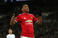 Anthony Martial of Manchester United reacts after a missed chance to score. Premier league match, Tottenham Hotspur v Manchester Utd at Wembley Stadium in London on Wednesday 31st January 2018.<br /> pic by Steffan Bowen, Andrew Orchard sports photography.