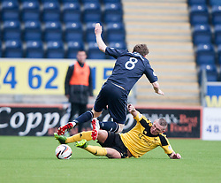 Falkirk's Blair Alston and  Livingston Martin Scott.<br /> Falkirk 1 v 1 Livingston, Scottish Championship game today at The Falkirk Stadium.<br /> © Michael Schofield.