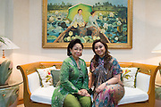 Martha Tilaar (left), founder of the Martha Tilaar Group, and her daughter Wulan Tilaar Widarto pose for a portrait at Martha Tilaar's office in East Jakarta, Indonesia, on July 2, 2015.