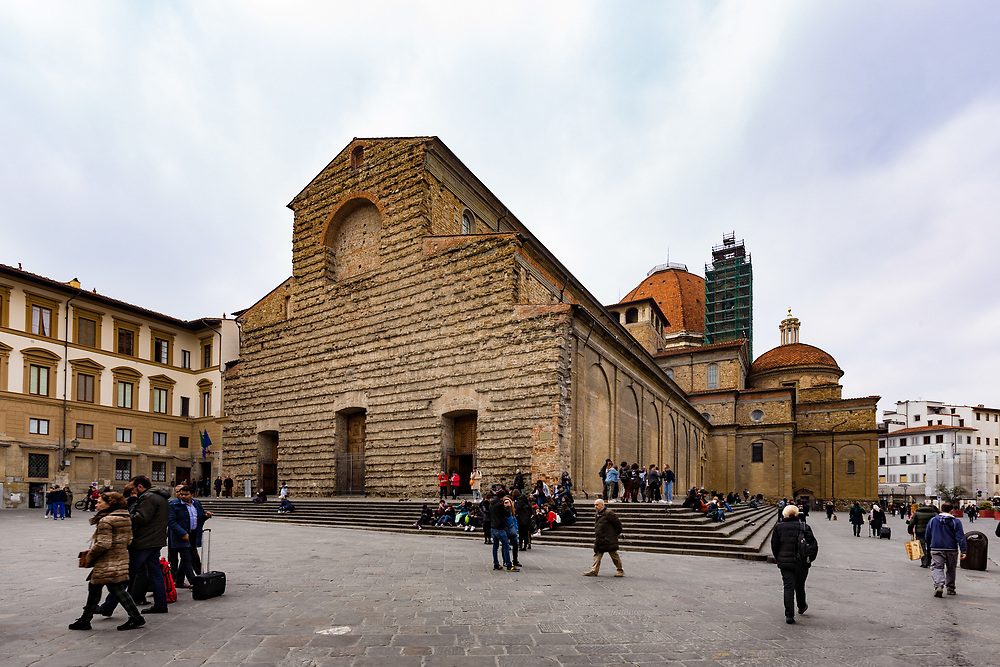 San Lorenzo church in Florence, Italy. The church is the burial place of all the principal members of the Medici family