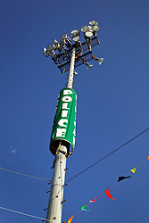 02 May 2015. New Orleans, Louisiana.<br /> The New Orleans Jazz and Heritage Festival. <br /> A police pole.<br /> Photo; Charlie Varley/varleypix.com