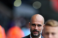 Pep Guardiola, the Manchester city manager arrives off the team bus ahead of the game. EFL Cup. 3rd round match, Swansea city v Manchester city at the Liberty Stadium in Swansea, South Wales on Wednesday 21st September 2016.<br /> pic by  Andrew Orchard, Andrew Orchard sports photography.
