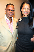 """l to r: Stephen Byrd and Victoria Rowell at b.michael America Spring 2010 Collection """" Advanced American Style """" held at Christie's in Rockefeller Plaza on September 16, 2009 in New York City."""