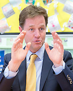 ***STRICT EMBARGO UNTIL 12:01AM 13/06/14*** © Licensed to London News Pictures. 12/06/2014. Carshalton, UK. Nick Clegg.  Deputy Prime Minister and leader of the Liberal Democrats, Nick Clegg, visits Carshalton High School for Girls in Surrey today 12th June 2014. He was joined by Schools Minister David Laws and local Liberal Democrat MP Tom Brake.  Photo credit : Stephen Simpson/LNP