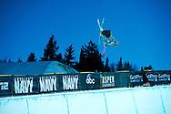 Lyman Currier during Ski Pipe Practice at 2014 X Games Aspen at Buttermilk Mountain in Aspen, CO. ©Brett Wilhelm/ESPN