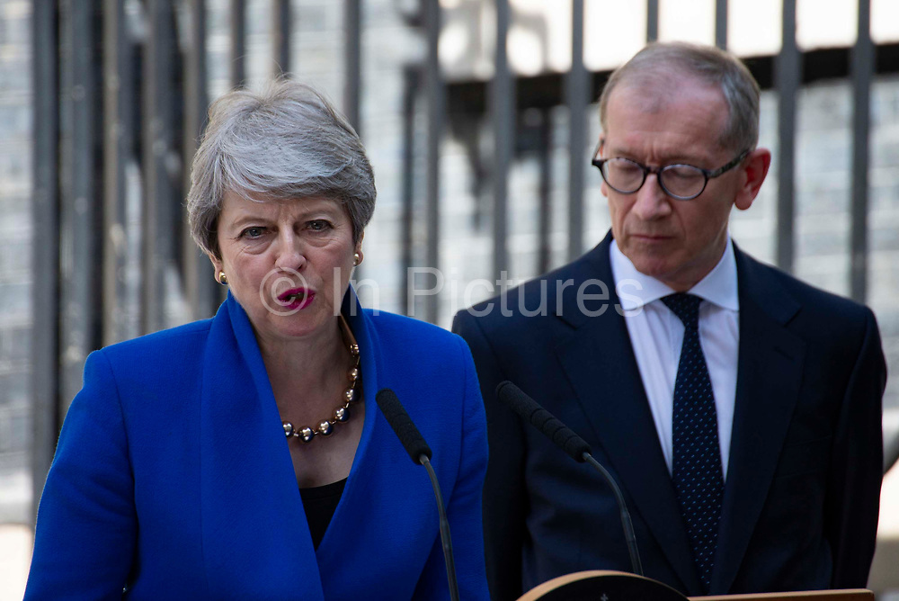 Prime Minister Theresa May makes her outgoing statement alongside her husband Philip May at Downing Street on 24th July, 2019 in London, United Kingdom. Today she makes her final statement as Prime Minister of Great Britain and Northern Ireland before formally tendering her resignation at Buckingham Palace. Boris Johnson takes charge at 10 Downing Street later today.