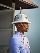 20 OCTOBER 2016 - BANGKOK, THAILAND:  A sentry at the Grand Palace in Bangkok. The King died Oct. 13, 2016. He was 88. His death came after a period of failing health. Bhumibol Adulyadej was born in Cambridge, MA, on 5 December 1927. He was the ninth monarch of Thailand from the Chakri Dynasty and is also known as Rama IX. He became King on June 9, 1946 and served as King of Thailand for 70 years, 126 days. He was, at the time of his death, the world's longest-serving head of state and the longest-reigning monarch in Thai history.       PHOTO BY JACK KURTZ