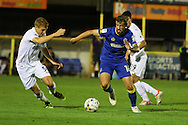 Swansea City U23 midfielder Daniel Jefferies (59) and AFC Wimbledon midfielder Tom Beere (16) during the EFL Trophy match between AFC Wimbledon and U23 Swansea City at the Cherry Red Records Stadium, Kingston, England on 30 August 2016. Photo by Stuart Butcher.