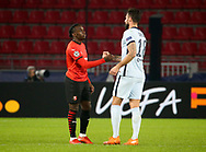 Jeremy Doku of Stade Rennais, Olivier Giroud of Chelsea following the UEFA Champions League, Group E football match between Stade Rennais and Chelsea on November 24, 2020 at Roazhon Park in Rennes, France - Photo Jean Catuffe / ProSportsImages / DPPI