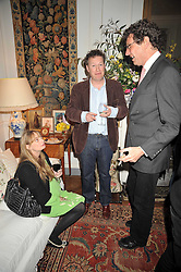 Left to right, CLEMENTINE FRASER, ORLANDO FRASER and TIM HANBURY at a party to celebrate the publication of Charles Glass's new book 'Americans in Paris' held at 12 Lansdowne Road, London W1 on 25th March 2009.