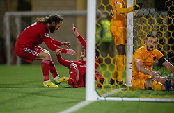 Aberdeen's Dean Campbell cele scoring their second goal with Aberdeen's Stevie May. Livingston 1 v 2 Aberdeen, SPFL Ladbrokes Premiership played 29/1/2018 at Livingston home ground, Tony Macaroni Arena.