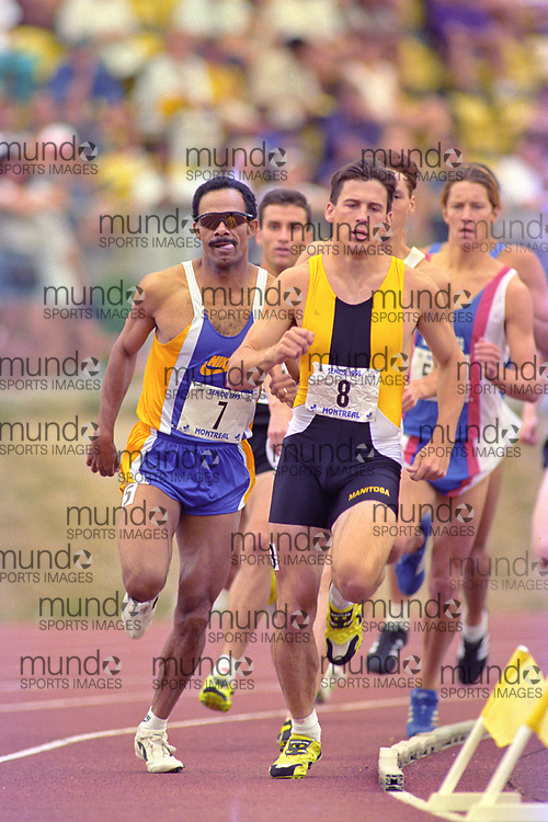 (Montreal, Canada---28 July 1995) Byron Goodwin (8) and Freddie Williams (7) lead the 800m final into the last lap at the 1995 Canadian Track and Field Championships in Montreal. Photo 1995 Copyright Sean Burges / Mundo Sport Images.