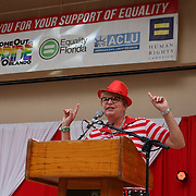 """Orlando City Commissioner Patty Sheehan speaks in Lake Eola park during the """"Marriage Equality Rally"""" at the Lake Eola bandshell in downtown Orlando, Florida on Thursday, June 27, 2013. Orlando's gay community and its supporters are celebrating the U.S. Supreme Court rulings on gay marriage and the Defense of Marriage Act (DOMA) reversal that constitutionally denied legally married gay couples federal benefits. (AP Photo/Alex Menendez)"""
