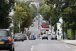 © Licensed to London News Pictures. 31/08/2020. London, UK. Ladbroke Grove in  Notting Hill, West London, is seen without any revellers on the day of the 2020 Notting Hill Carnival, which is being held virtually this year due to COVID-19 restrictions. Members of the public have been warned against congregating in the Notting Hill Area to celebrate the event. Photo credit: Peter Macdiarmid/LNP