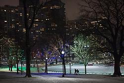 Christmas Holiday lights glow in Boston Public Garden.