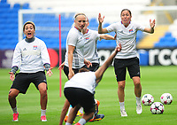 Olympique Lyonnais' Camille Abily (right) reacts during training<br /> <br /> Photographer Kevin Barnes/CameraSport<br /> <br /> UEFA Women's Champions League Final - Pre match training session - Lyon Women v Paris Saint-Germain Women - Wednesday 31st May 2017 - Cardiff City Stadium<br />  <br /> World Copyright © 2017 CameraSport. All rights reserved. 43 Linden Ave. Countesthorpe. Leicester. England. LE8 5PG - Tel: +44 (0) 116 277 4147 - admin@camerasport.com - www.camerasport.com