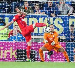 Falkirk's keeper Jamie MacDonald saves. Falkirk 0 v 2 Rangers, Scottish Championship game played 15/8/2014 at The Falkirk Stadium.