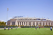 Yankee Stadium (New) from nearby Soccer Field in the shadow of the old Yankee Stadium, The Bronx, New York City, USA