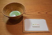 Matcha tea with candies by Kyoto Kagizen-Yoshifura at Kajitsu, 125 E. 39th St., New York.