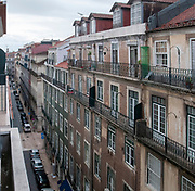 Elevated street view, Baixa, Lisbon, Portugal