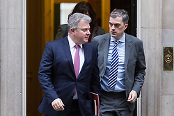 London - Minister without Portfolio and Conservative Party Chair Brandon Lewis and Conservative Chief Whip Julian Smith leave the weekly meeting of the UK cabinet at Downing Street. January 23 2018.
